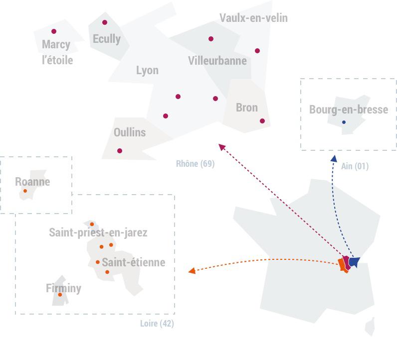 Carte de l'université de lyon