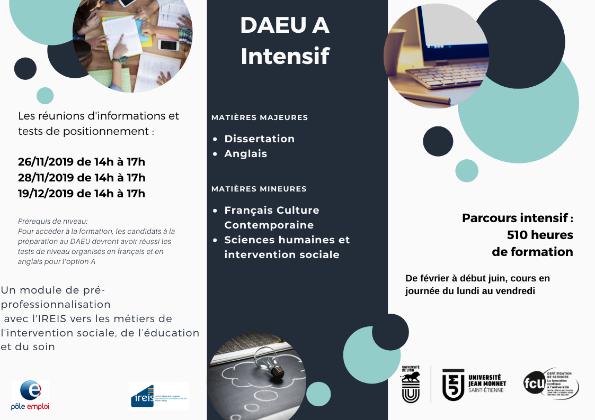 Réunions d'informations et test de positionnement pour le DAEU A Intensif à l'Université Jean Monnet de St-Etienne